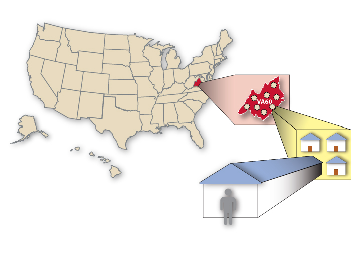 This artwork depicts the United States, counties, and small areas used in the National Survey on Drug Use and Health.