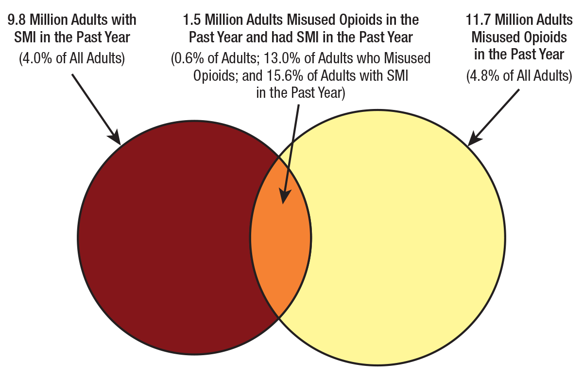 Image shows that 9.8 million adults have SMI in the past year (4.0% of adults), 11.7 million adults misused opioids in the past year (4.8% of adults), and 1.5 million adults both misused opioids in the past year and also had SMI in the past year (0.6% of adults; 13.0% of adults who misused opioids, 15.6 % of adults with SMI).