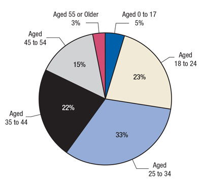 This is a pie chart comparing age distribution of emergency department (ED) visits involving methamphetamine: 2011. Accessible table located below this figure.