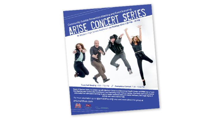 Madison Cares poster announces the Arise Concert Series and has four young adults jumping for joy.