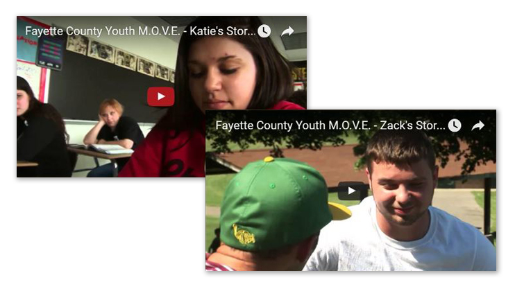 "Two stills of Fayette County Youth M.O.V.E.'s video, ""Everybody has a Voice…Everybody has a Story."" One video still shows a young woman in a classroom. The other still shows a young man talking to an athletic coach."