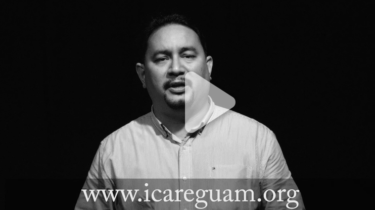 A still of Guam's iPledge video PSA. It shows a man from Guam speaking and says www.icareguam.org.