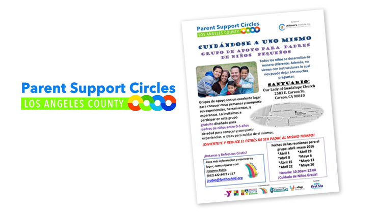 The Parent Support Circles, Los Angeles County Icon is shown to the left of a cover image of Project ABC's topic guide for support groups for parents of young children.