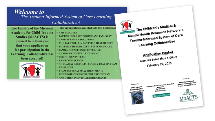 A Front cover image of the Children's Medical & Mental Health Resource Network's Trauma-Informed System of Care Learning Collaborative Application Packet overlaps a graphic of an acceptance letter with a list of organizations accepted into the collaborative