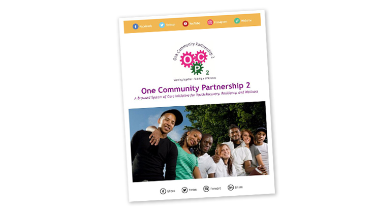 Cover image from the One Community Partnership 2 e-newsletter. The cover features the One Community Partnership 2 icon which shows some cogs with the letters O, C, P, and number 2. Below the icon is a photo of seven diverse youth, smiling, with their arms over each other's shoulders