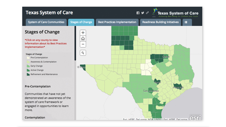 Image of the Texas System of Care's Stages of Change web page which features an interactive map of Texas and shows the five stages of change by color in the different areas on the map.