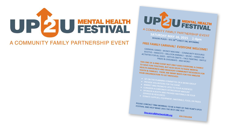 The UP2U Mental Health Festival icon is shown to the left of a flyer for the Community Family Partnership's UP2U Mental Health Festival, which advertises a free carnival
