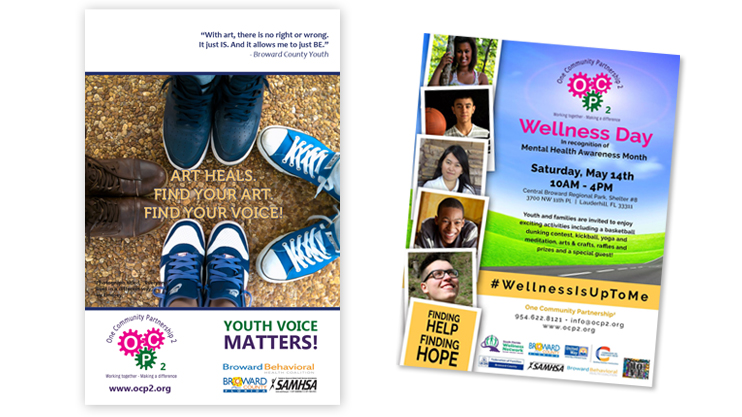 "On the left is a poster from One Community Partnership 2 that reads ""Art Heals. Find your Art. Find Your Voice!"" and shows four pairs of children's shoes forming a circle. It also features a quote from one of the Broward County youth who participated in the program. On the right is a flyer for the Wellness Day event in celebration of Children's Mental Health Awareness Day. The flyer also includes polaroid-style photos of five diverse young adults."