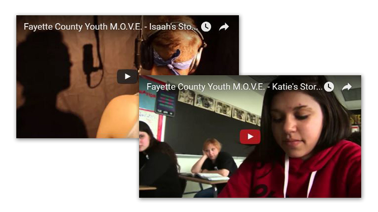 "Two stills from Fayette County Youth M.O.V.E.'s video, ""Everybody has a Voice…Everybody has a Story."" One video still from Katie's Story shows a young woman in a classroom. The other still from Isaah's story shows a young man singing into a microphone in a sound booth."
