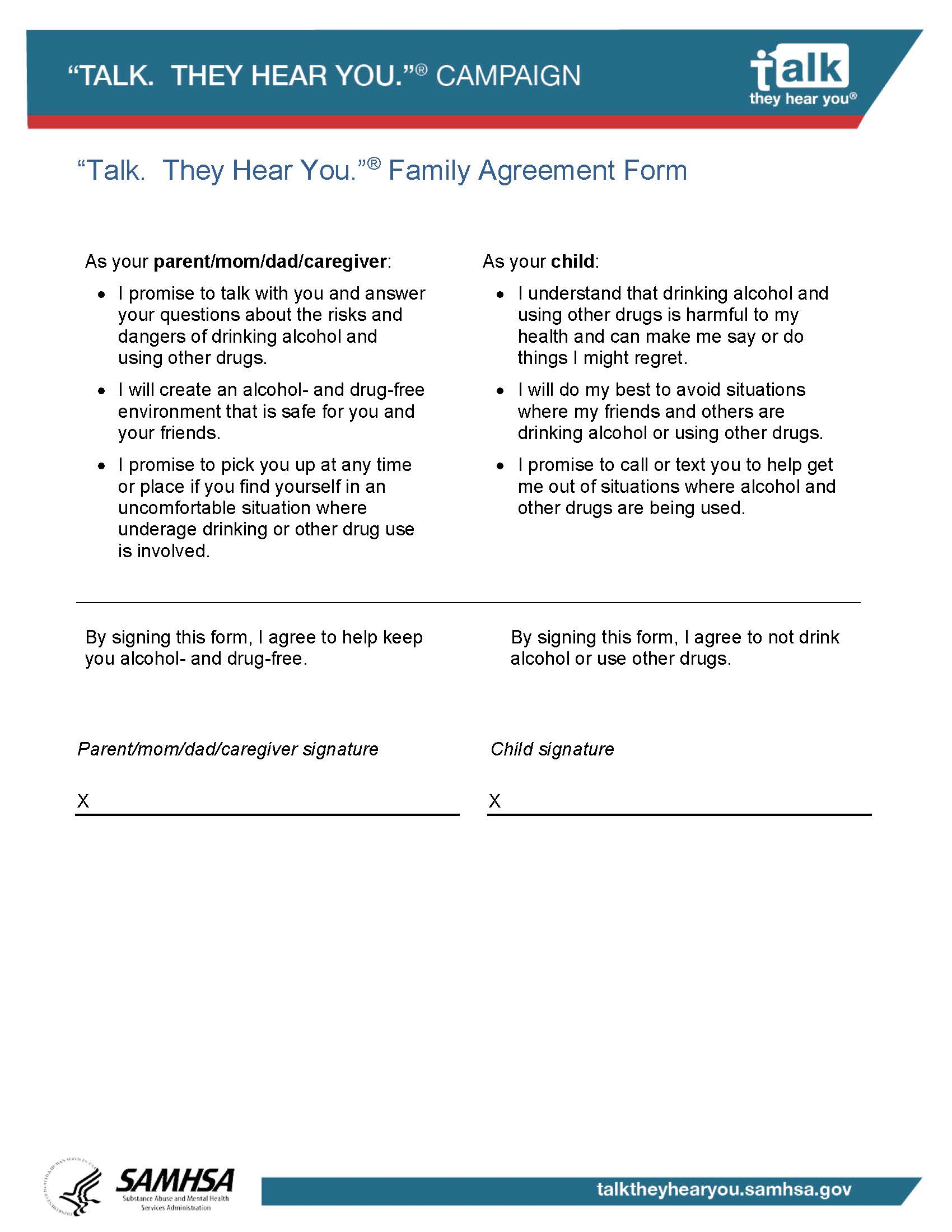 family agreement form avoiding alcohol samhsa substance abuse