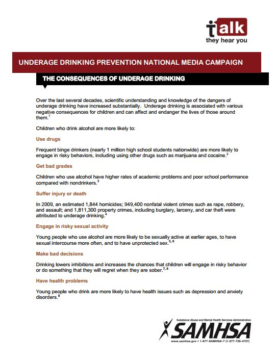 The Consequences of Underage Drinking image