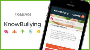 KnowBullying, a free smartphone app created by SAMHSA, provides parents, caretakers, educators, and others with information and communication support to help prevent bullying and build resilience in children.