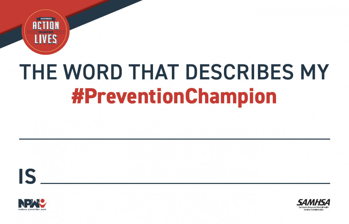 National Prevention Week Prevention Champion Sign 2019