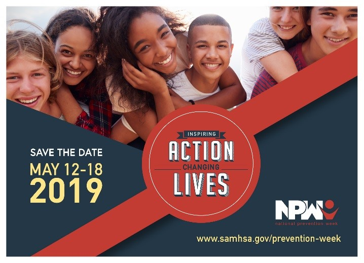 National Prevention Week Save-the-Date Postcard 2019