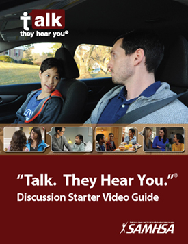 Father looking at son in a car. Talk. They hear you discussion starter video guide.