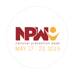 NPW 2015 round sticker saying NPW national prevention week May 17-23, 2015