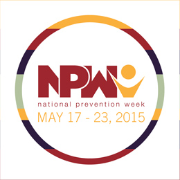 NPW 2015 round sticker with a multi-color border