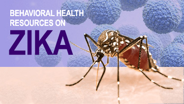 Behavioral health resources on Zika, photo of a mosquito.