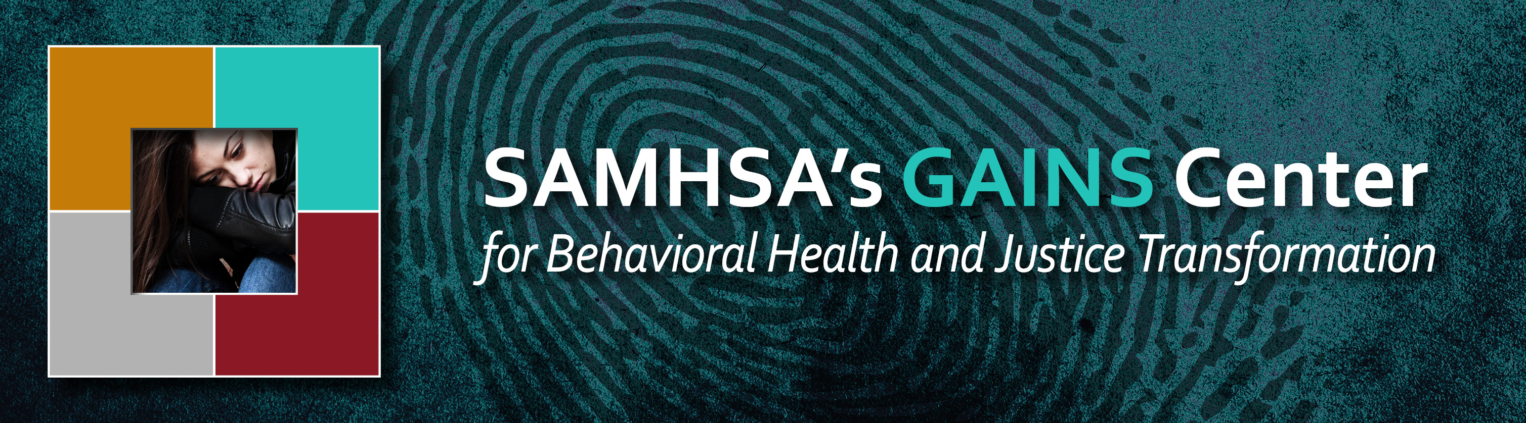 Illustration of a young girl with the phrase: SAMHSA's GAINS Center for Behavioral Health and Justice Transformation displayed