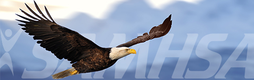 Eagle flying with SAMHSA watermark